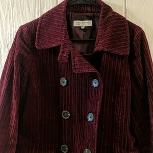 New Jones New York Burgundy peacoat